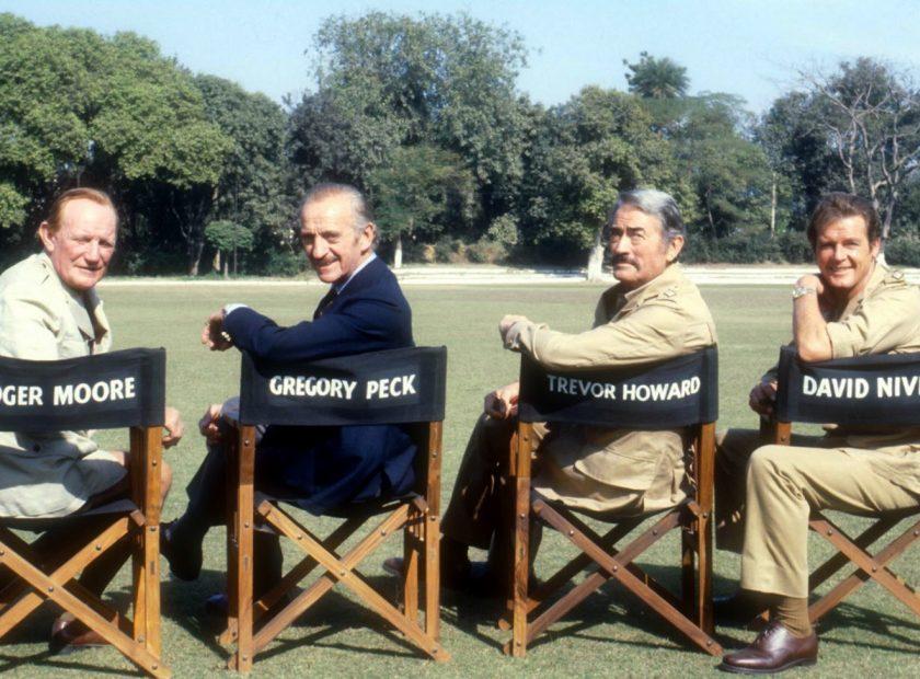 David Niven, Trevor Howard, Gregory Peck, Roger Moore (v.l.n.r.)
